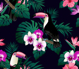Tropical birds, orchids and palm leaves seamless background. Vector.