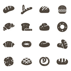 Various Bread Bakery Simple Icon Collection