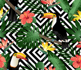 Tropical birds and palm leaves seamless geometric background. Vector.