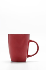 one shabby red cup isolated on a white background