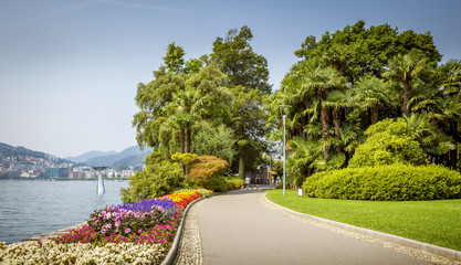 Panorama of city park in Lugano town in Switzerland