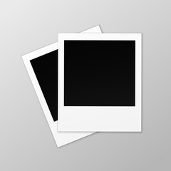 Vector Blank Retro Photo Frames Close up Isolated on Background