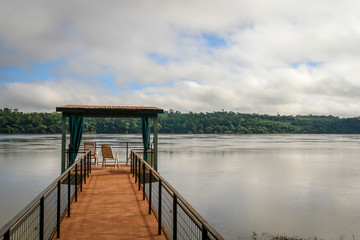 Dock with nice view on a river in South America