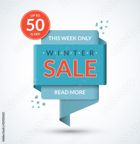 winter sale banner discount label christmas and new year sale tag special offer