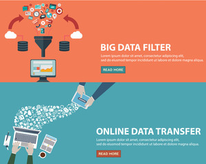 Online data transfer concept and big data filter creative process