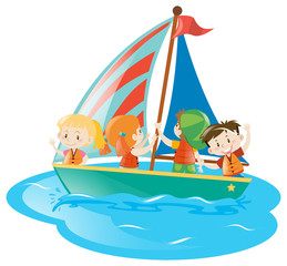 Four kids on sailboat