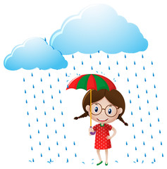Little girl in red shirt standing in the rain