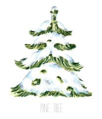 Watercolor snow christmas tree.