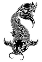 Koi Carp Fish Woodcut Style
