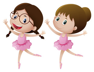 Two girls in pink dress doing ballet