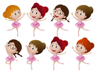 Many girl in ballet outfit
