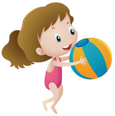 Girl in pink swimmingsuit holding ball