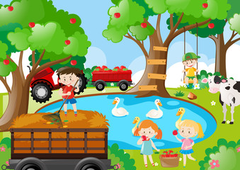 Farm scene with kids working