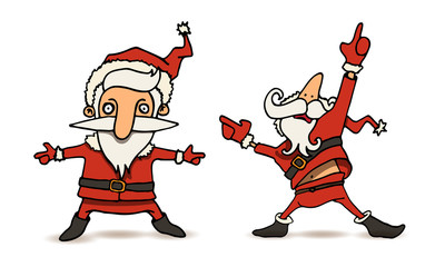 cartoon illustration of dancing Santa Claus in various poses