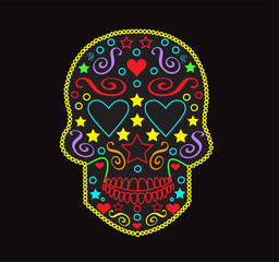Skull vector background for fashion design, patterns, tattoos with heart eyes neon color