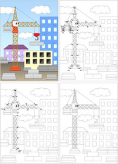 Cartoon crane. Coloring book and dot to dot game for kids