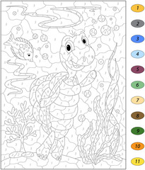 Cartoon turtle and fish in the ocean. Color by number educationa