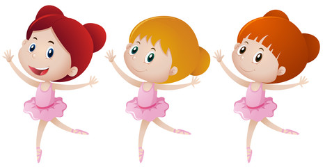 Three girls doing ballet