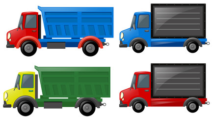 Four trucks in different colors