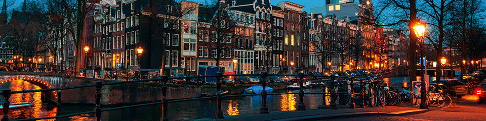 Fotobehang Amsterdam Amsterdam, Netherlands canals and bridges