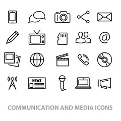 communication and media line icons