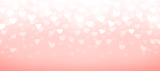 Vector illustration of pink background with light hearts