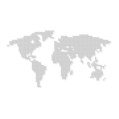 World map grey colored with circle on white background