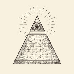 All seeing eye pyramid symbol. New World Order. Hand drawn sketch vector