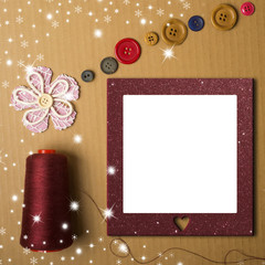 Christmas photo frame, sewing or crafts concept.