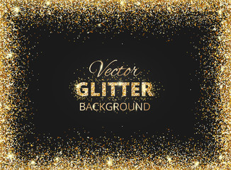 Black and gold background with glitter frame