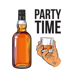Whiskey bottle and hand holding full shot glass, sketch style vector illustration isolated. Realistic hand drawing of an unlabeled, unopened whiskey bottle, party time concept for posters, postcards
