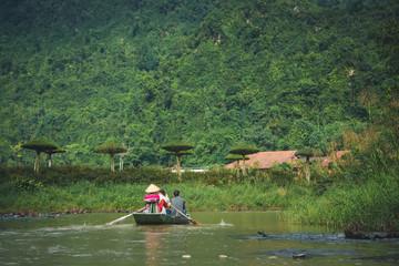 Ninh Binh in Vietnam. Boat on Tam Coc river.