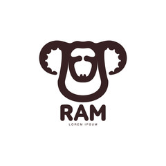 Ram, sheep, lamb head graphic logo template, vector illustration on white background. Front view black and white sheep, lamb, ram head for business, farm, wool products logo design