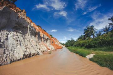 Mui Ne in Vietnam. Red sand scenic canyon.