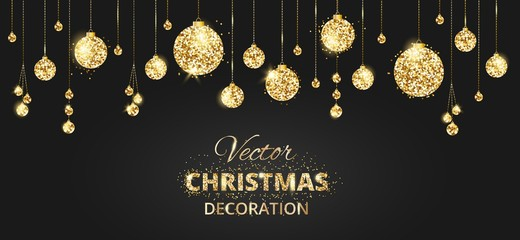 Christmas background with glitter decoration. Black and gold bac