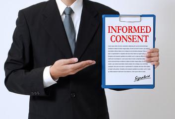 man showing a written informed consent