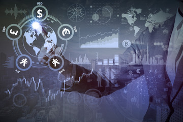 double exposure of financial technology concept