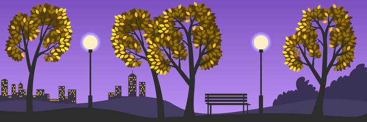 Vector illustration of a beautiful evening autumn landscape. Park alley with trees, bench, streetlights, silhouettes of buildings in the background, yellow leaves