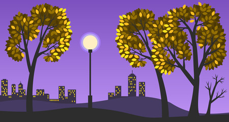 Vector illustration of a beautiful evening autumn landscape. Park alley with trees, street light, silhouettes of buildings in the background, yellow leaves.