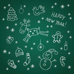 Set of doodle Christmas and New Year elements. Vector illustration.