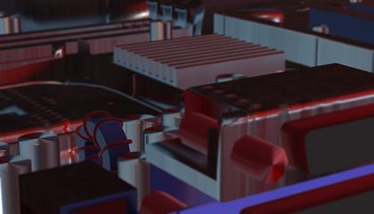 Electronic Board. Small depth of field. Digital Illustration, 3d render
