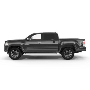 Side view Black Pick up Truck on white. 3D illustration