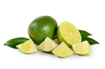 The fresh lime isolated on a white background