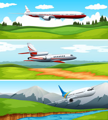 Three scenes of airplane flying over the field