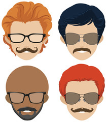 Mustach styles and glasses for men