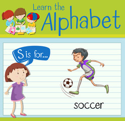 Flashcard letter S is for soccer