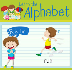 Flashcard letter R is for run