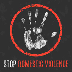 Vector illustration. Social problems of humanity. Stop domestic violence.