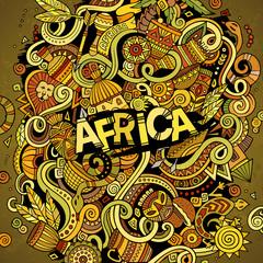 Cartoon cute doodles Africa illustration