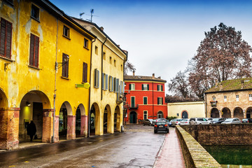 Old street in the medieval town of Fontanellato, Emilia-Romagna, Italy.
